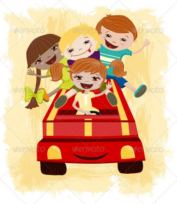 Children Driving - People Characters