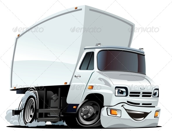 Vector Cartoon Cargo Truck - Miscellaneous Characters