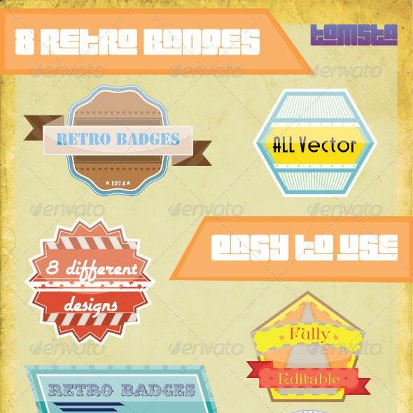 8 Retro Vector Badges