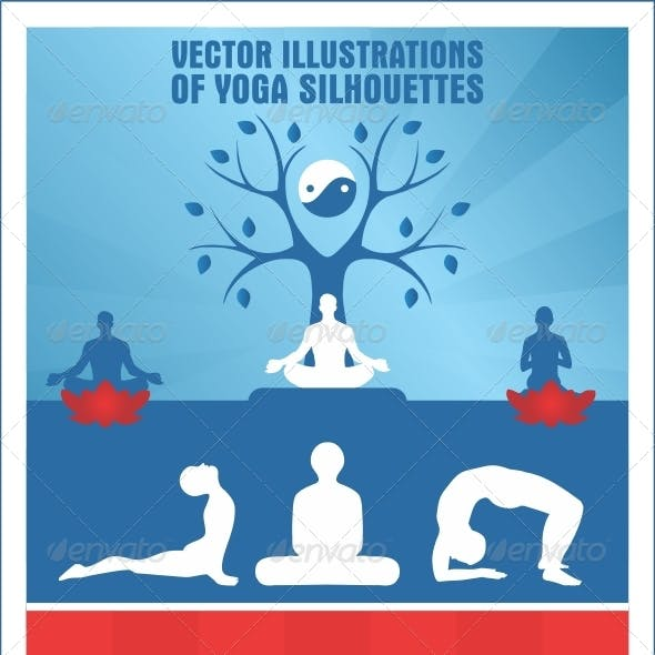 Vector Illustrations of Yoga Silhouettes