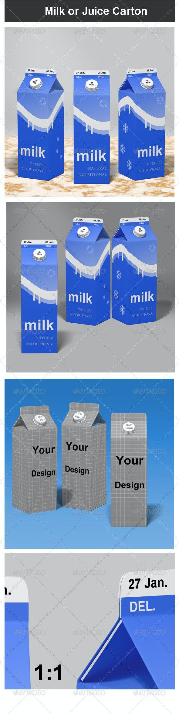 Milk or Juice Carton Mock-up - Food and Drink Packaging