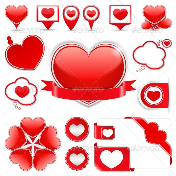 Design Elements with Hearts - Valentines Seasons/Holidays