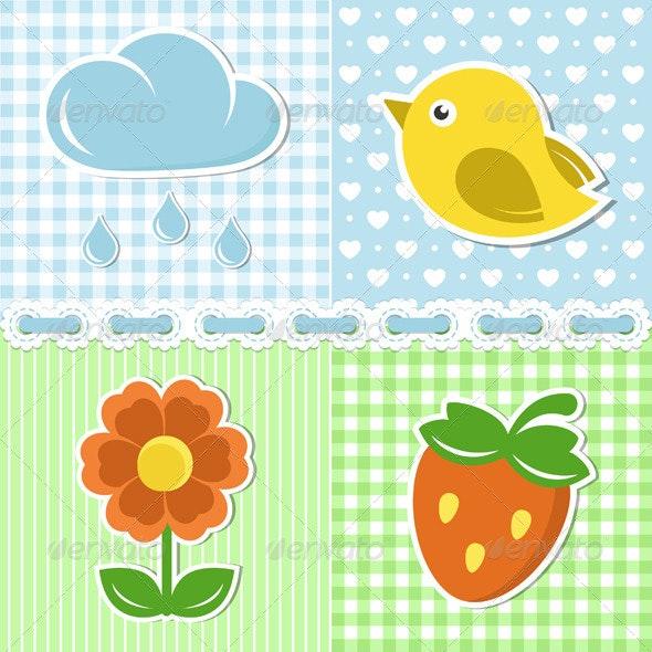 Summer Icons On Textile Backgrounds - Decorative Symbols Decorative