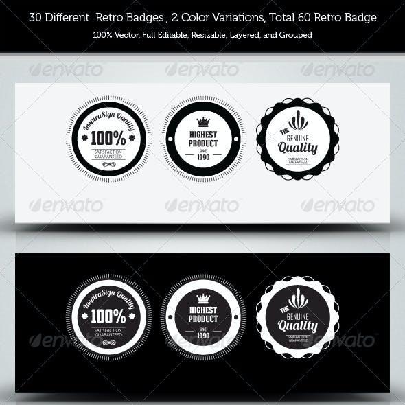 30 Genuine Quality - Retro Badges