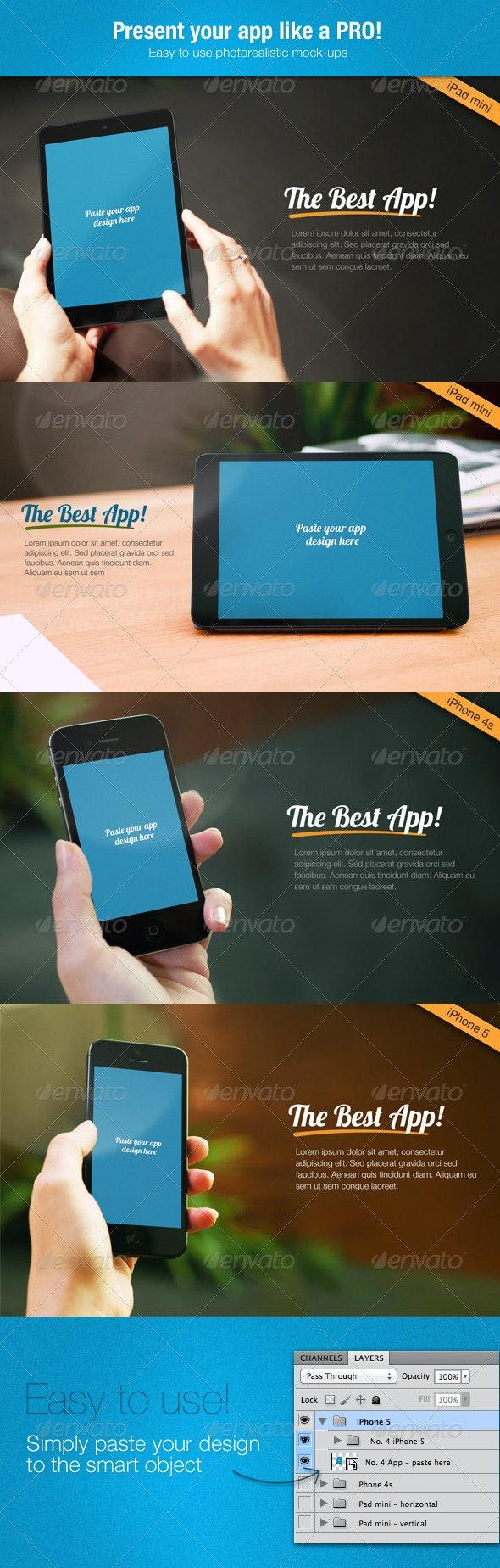 Multi-Platform App Mock-up Tablet, Phone4, Phone5  - Multiple Displays