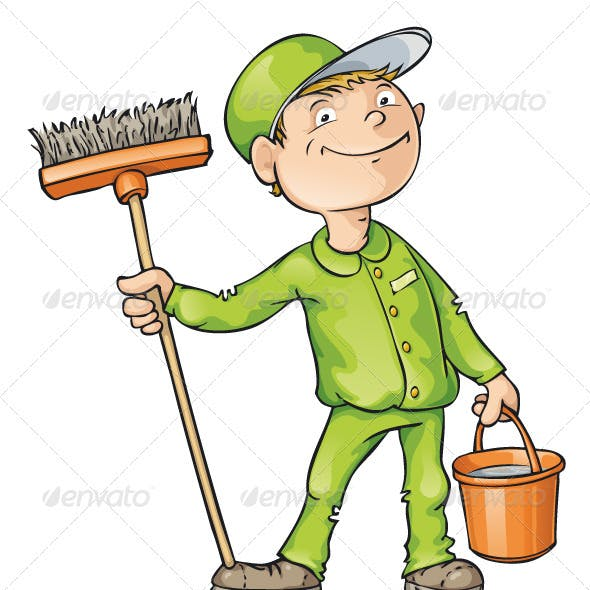 Cleaner Holding a Brush and Bucket
