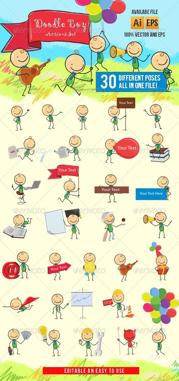 Doodle Boy-Cartoon Character - People Characters