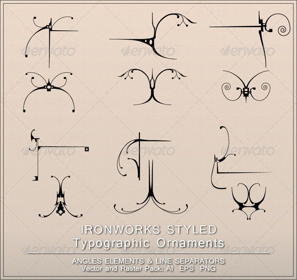 Ironworks Styled Page Decorations - Flourishes / Swirls Decorative