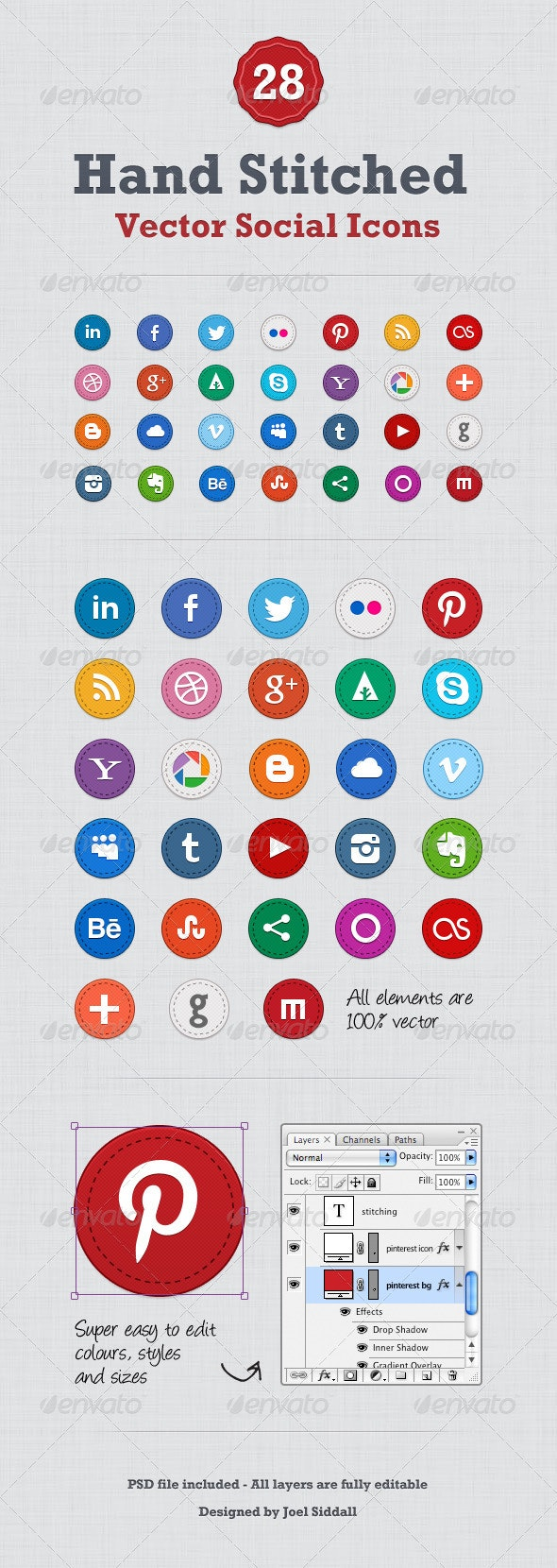 Hand Stitched Social Media Icons - Media Icons