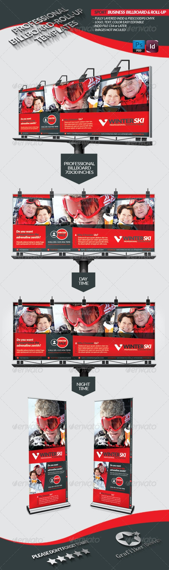 Sport Business Billboard - Roll-Up - Signage Print Templates