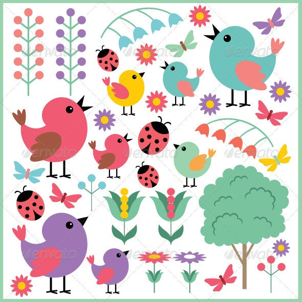 Scrapbook Elements with Birds and Insects - Decorative Symbols Decorative