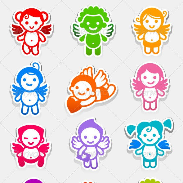 Colored Set Stickers Angels
