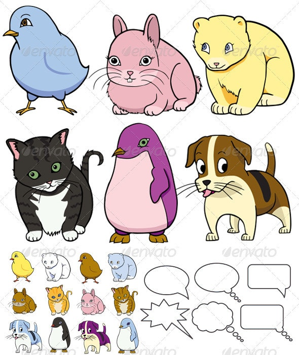 Six Cartoon Animals With Text Balloons - Animals Characters