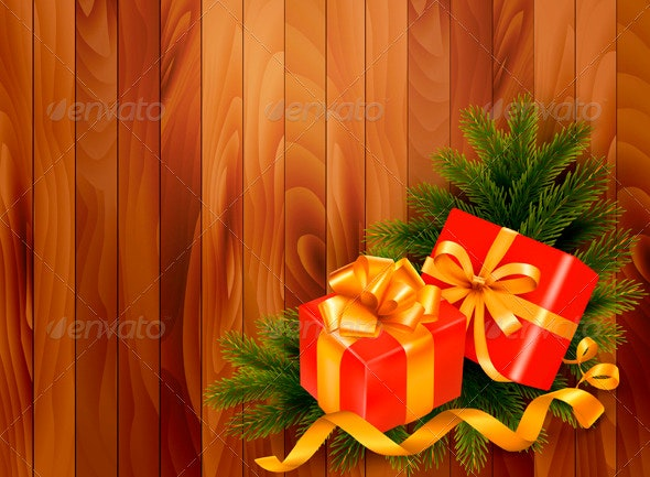 Holiday Background with Christmas Tree Branches - Christmas Seasons/Holidays