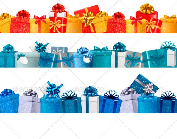 Collection of Holiday Banners with Colorful Gifts - Decorative Symbols Decorative
