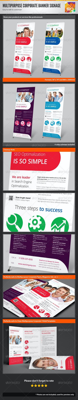 Multipurpose Corporate Banner Signage, Outdoor Ad - Signage Print Templates