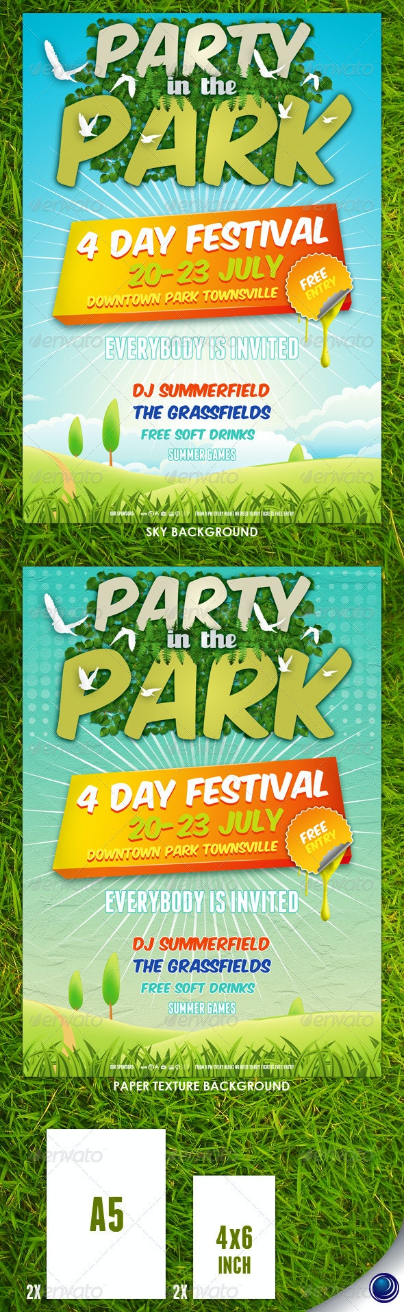 Summer Nature Party Flyer Template - Concerts Events