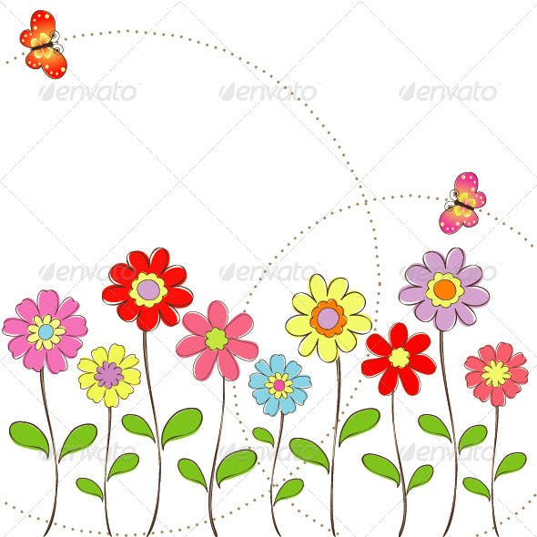 Springtime Greeting Card Colorful Flowers