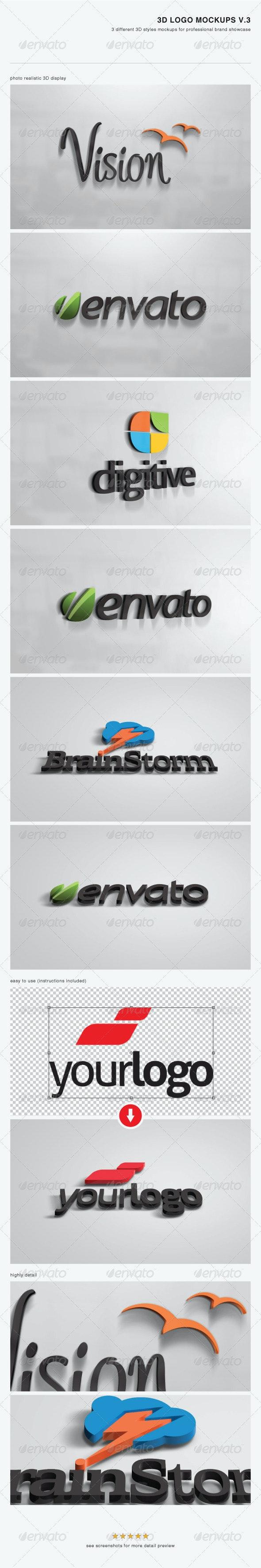 3D Logo Mockups V.3 - Logo Product Mock-Ups