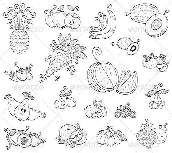 Doodle fruits, berries - Food Objects