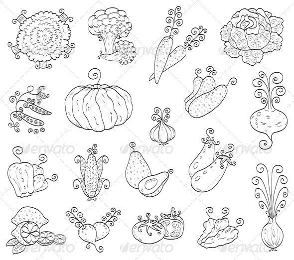 Doodle fruits, vegetables - Food Objects