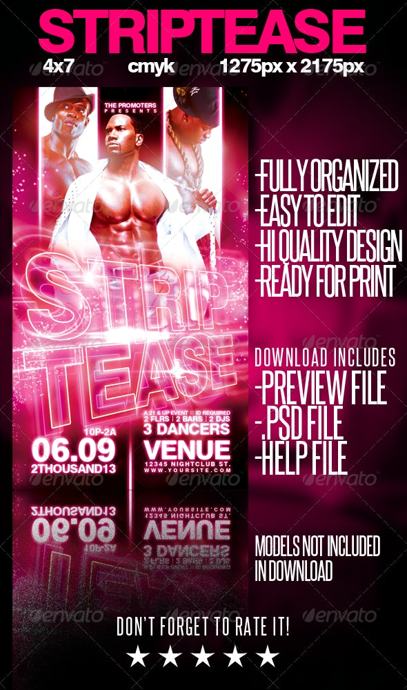 Strip Tease Flyer Template - Miscellaneous Events
