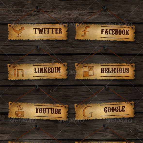 Old School Social Media Buttons