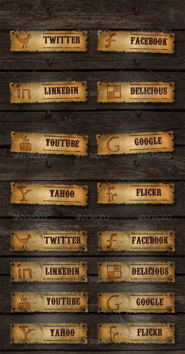 Old School Social Media Buttons - Buttons Web Elements