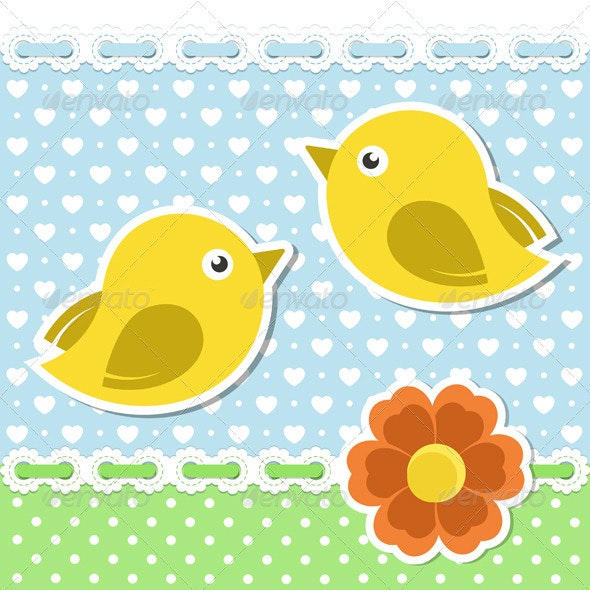 Romantic Background With Birds And Flower - Animals Characters