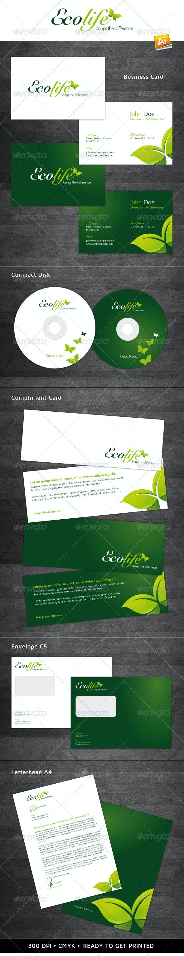 Ecolife Corporate Identity - Stationery Print Templates