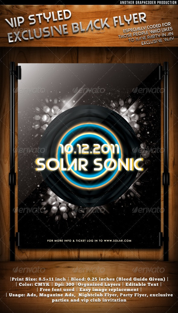 Solar Sonic-Deluxe Exclusive Black Flyer Template - Clubs & Parties Events