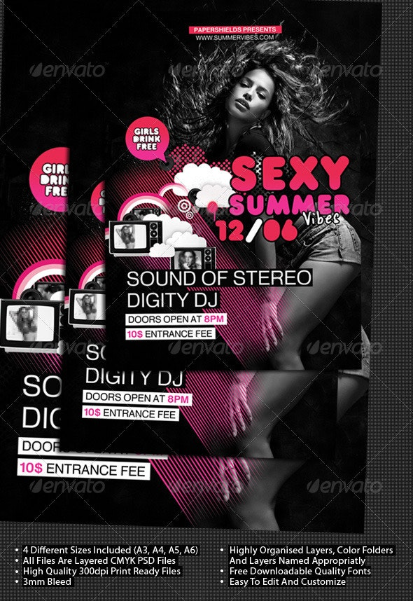 Modern Party Club Poster & Flyer  A3+A4+A5+A6 - Clubs & Parties Events