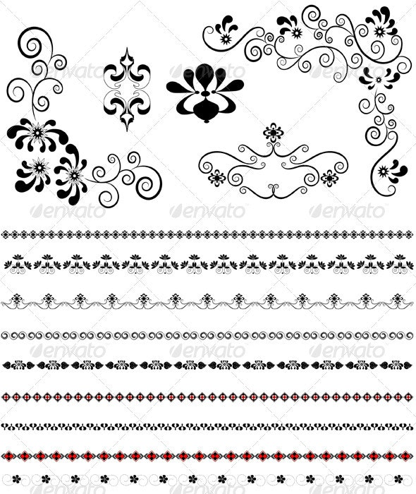 Corners and Borders with Floral Patterns - Flourishes / Swirls Decorative