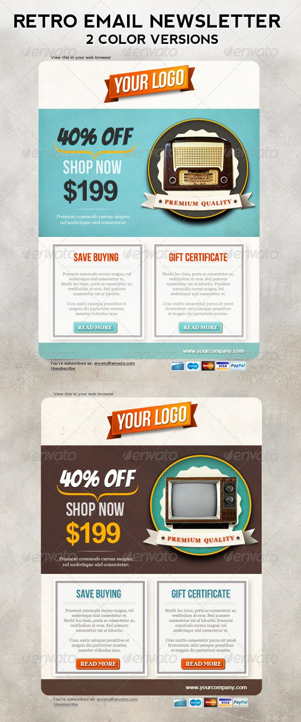 Retro Newsletters for E-commerce Businesses Email Template - E-newsletters Web Elements