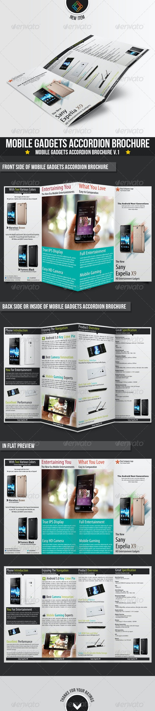 Modern Mobile Gadgets Accordion Brochures - Brochures Print Templates