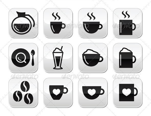 Coffee Buttons Set - Vector - Food Objects