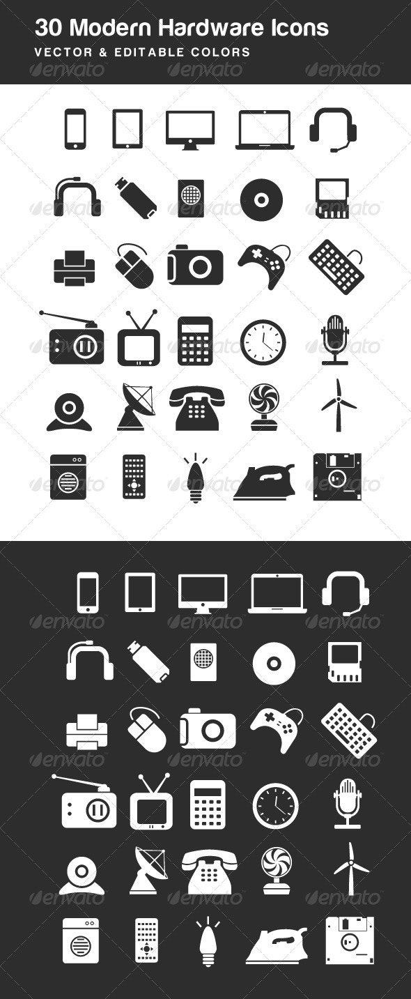 Modern Electric Hardware Icons - Technology Icons