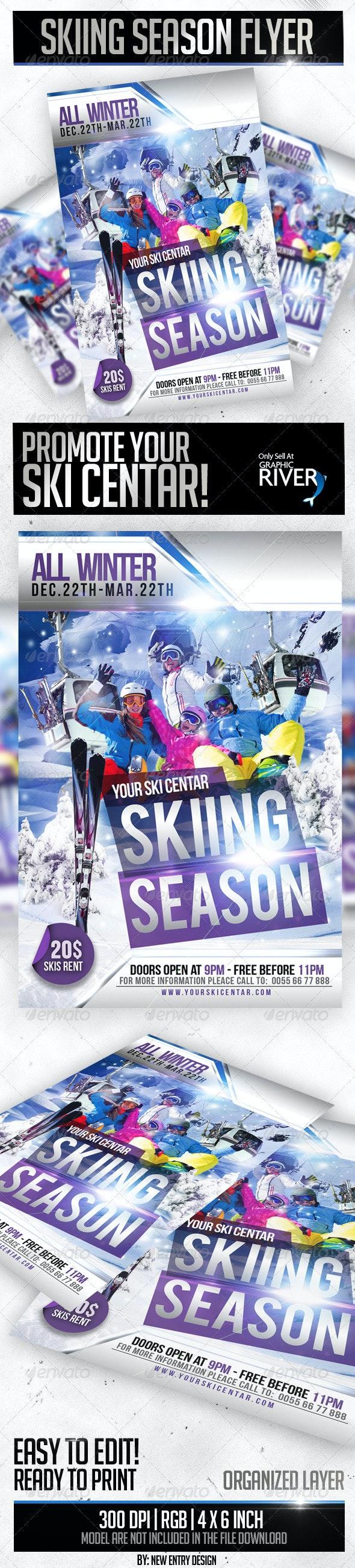 Skiing Season Flyer Template - Flyers Print Templates