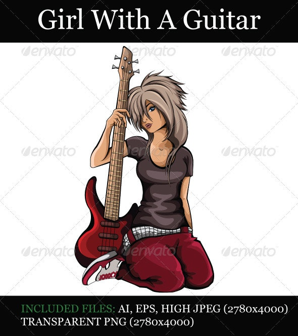 Girl With A Guitar - People Characters