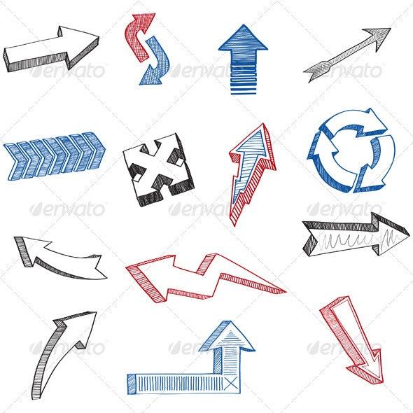 Sketch Arrows Set - Web Elements Vectors