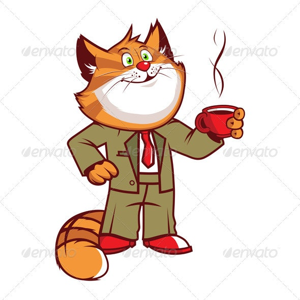 Office Cartoon Cat  - Animals Characters