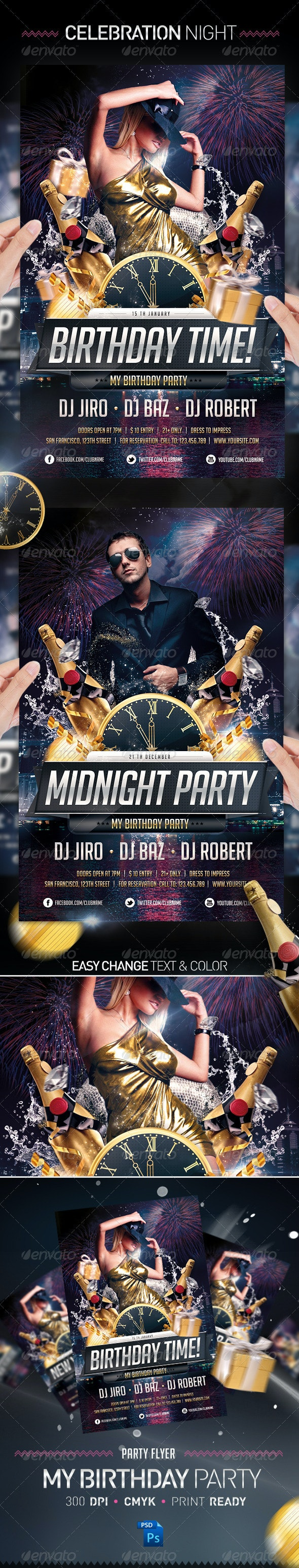 Birthday & Midnight Celebration Party Flyer - Clubs & Parties Events
