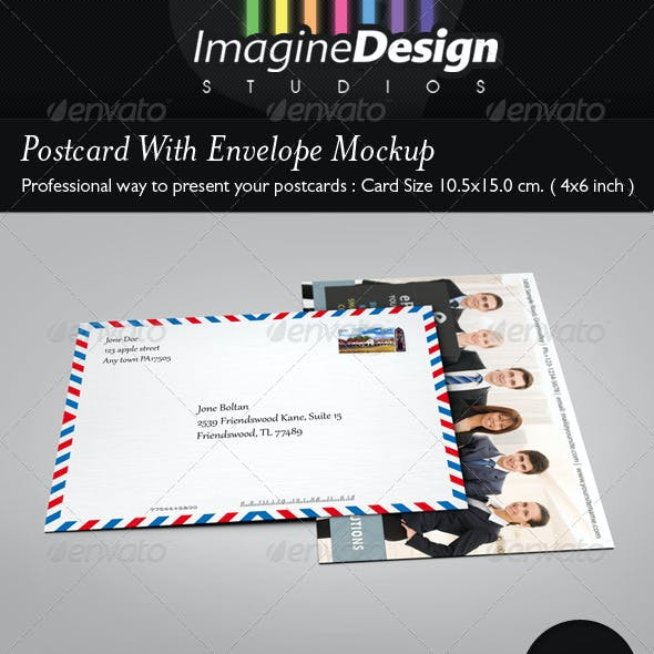 Postcard With Envelope Mockup