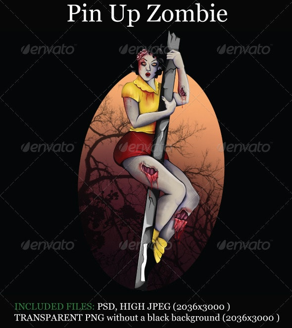 Pin Up Zombie - Characters Illustrations