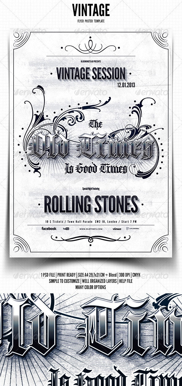 Vintage Typography Flyer / Poster - Clubs & Parties Events