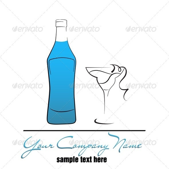 Bottle And Wineglass - Food Objects