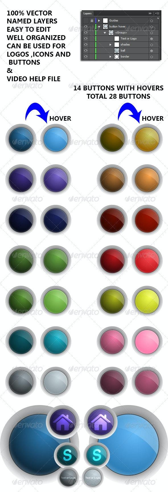 Glassy Vector Buttons - Web Elements Vectors