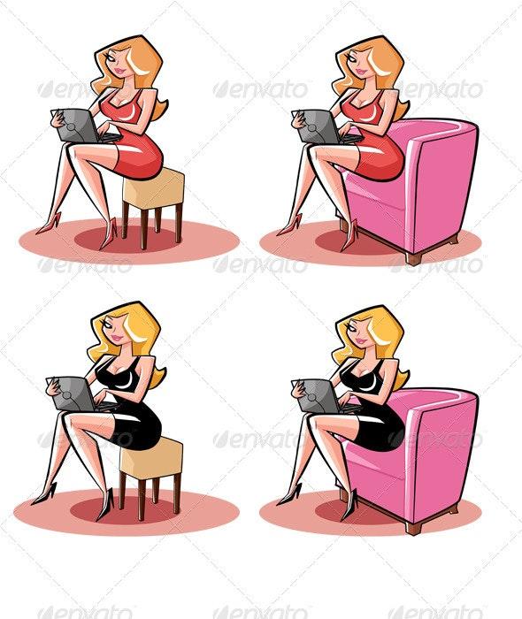 Woman Cartoon Character - Characters Illustrations