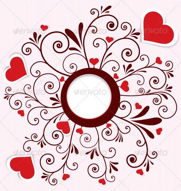 Heart stickers swirl frame vector - Flourishes / Swirls Decorative