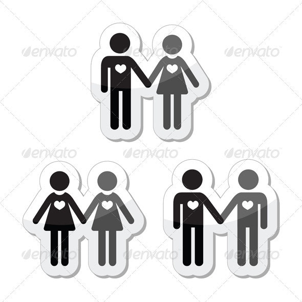 Hetero, gay, and lesbian love couples labels set - People Characters